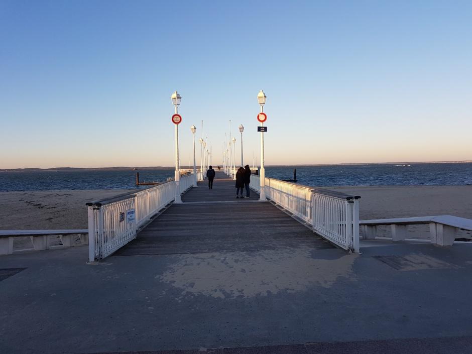 La jetée à Arcachon dans le froid hivernal