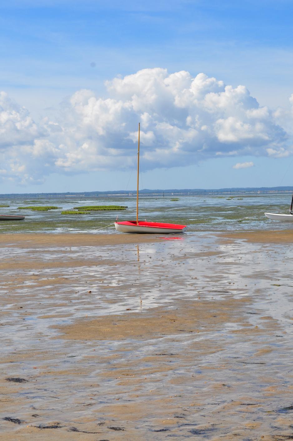 Bateau à Taussat, bassin à marée basse