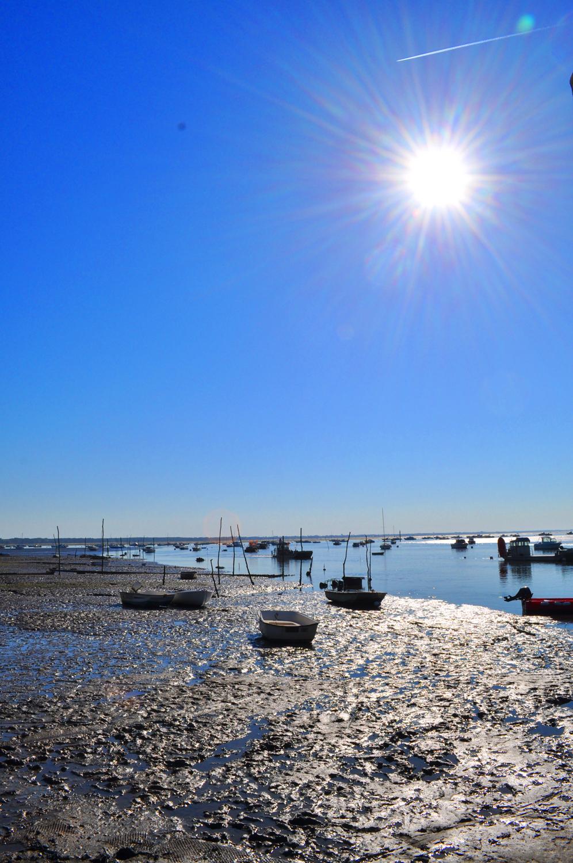 Bateaux à Claouey et soleil