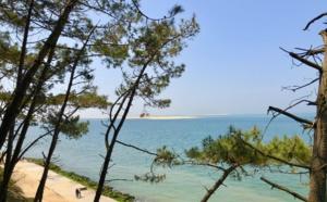 Vue sur les bancs de sable à l'entrée du bassin d' Arcachon